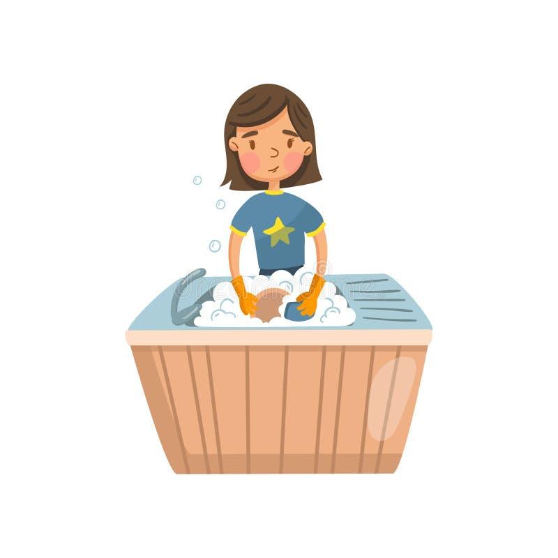 Giovane donna castana nei piatti di lavaggio dell'abbigliamento casuale nella cucina, casalinga nel vettore del fumetto di attivi royalty illustrazione gratis