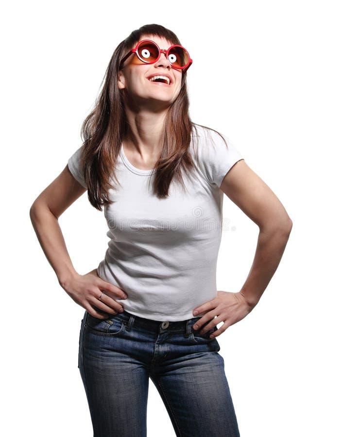 Giovane donna casuale felice fotografie stock libere da diritti