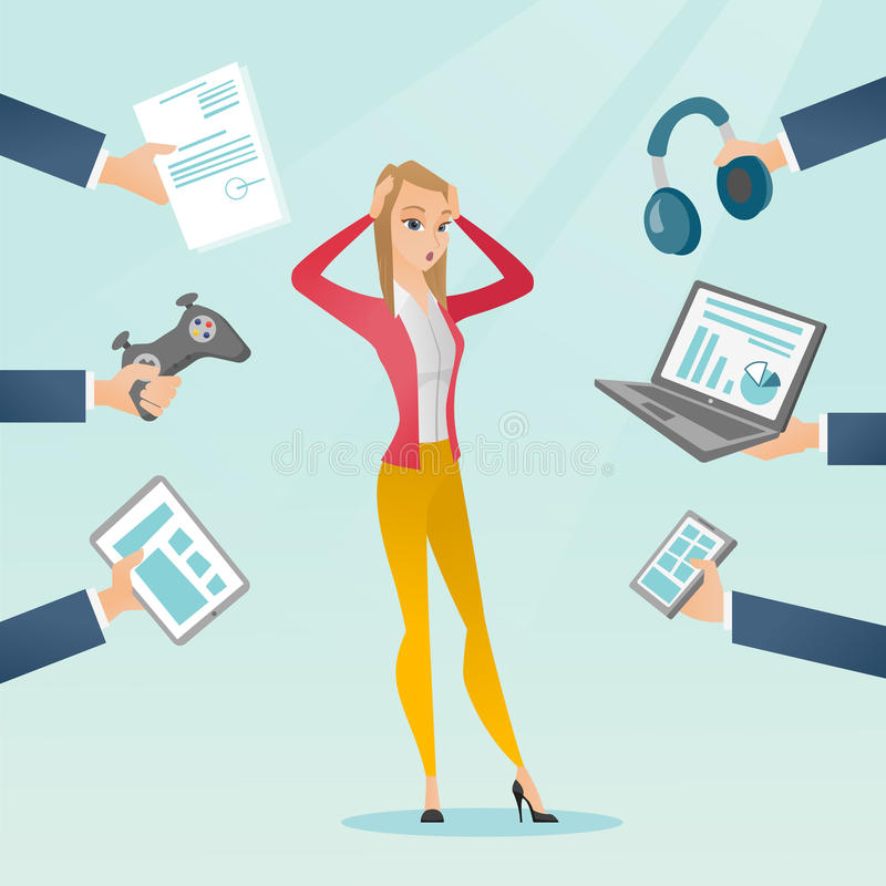 Giovane donna caucasica circondata dai suoi aggeggi illustrazione di stock