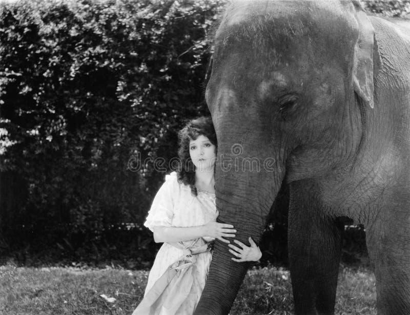 Giovane donna che abbraccia il tronco di un elefante (tutte le persone rappresentate non sono vivente più lungo e nessuna proprie immagini stock libere da diritti