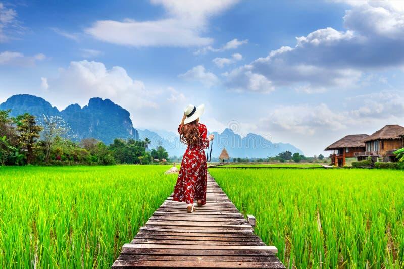 Giovane donna che cammina sul percorso di legno con il giacimento verde del riso in Vang Vieng, Laos fotografia stock libera da diritti