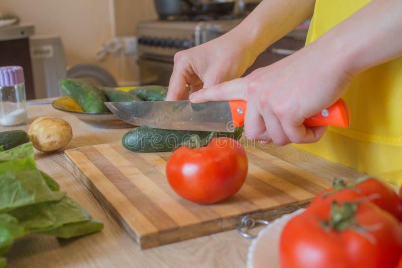 Giovane donna che cucina nella cucina Immagine potata delle verdure di taglio della ragazza per alimento Il cuoco unico taglia le fotografia stock libera da diritti