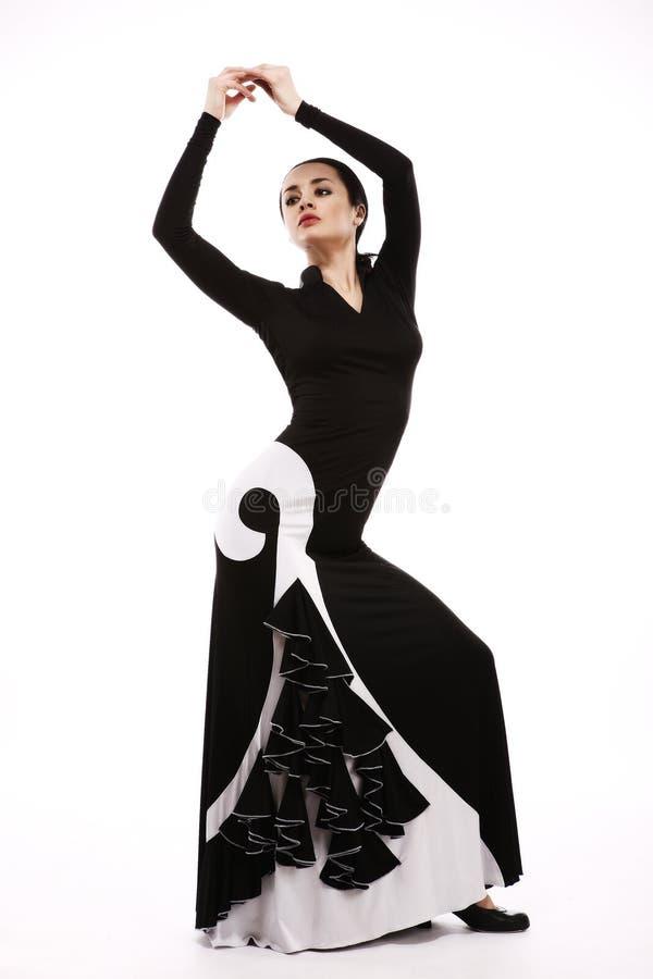 Giovane donna che esegue ballo della salsa con la passione, isolata sul whi fotografie stock libere da diritti