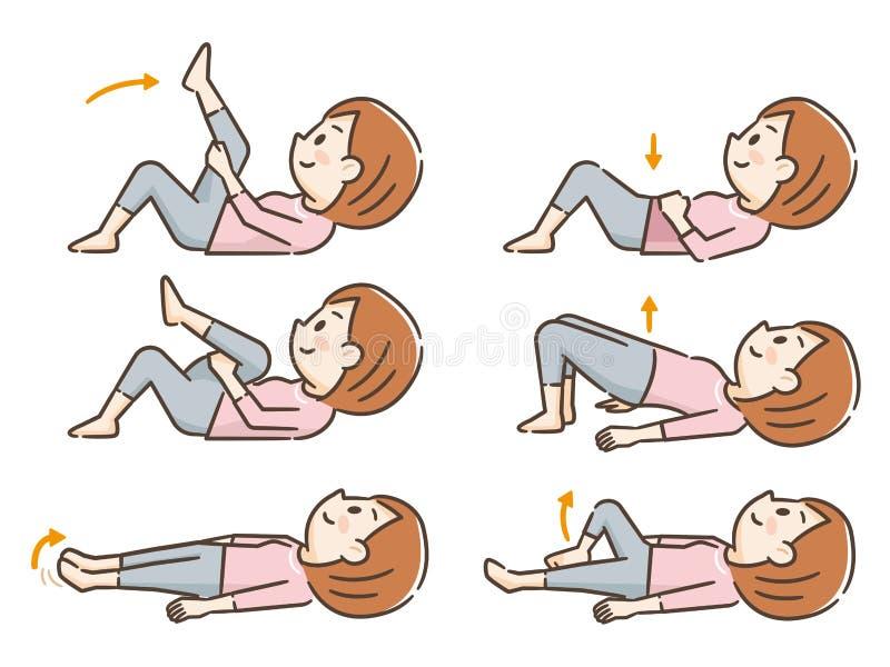 Giovane donna che esercita riposarsi illustrazione vettoriale