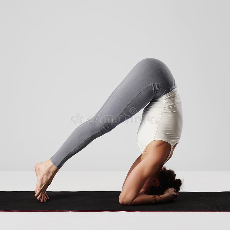 Giovane donna che fa le esercitazioni di yoga ragazza in buona salute di sport immagine stock libera da diritti