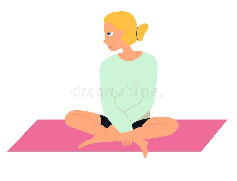 Giovane donna che fa yoga Ragazza che si siede sulla stuoia Vector l'illustrazione su fondo bianco nello stile del fumetto royalty illustrazione gratis