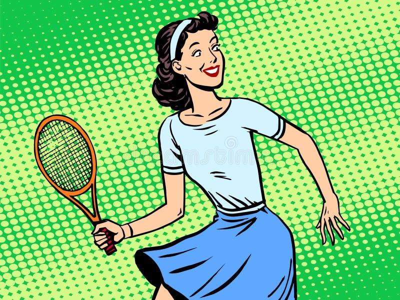 Giovane donna che gioca a tennis retro Pop art di stile illustrazione di stock