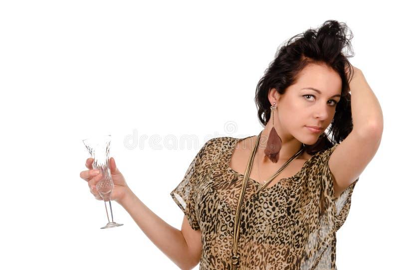 Giovane donna che gode di un partito fotografia stock