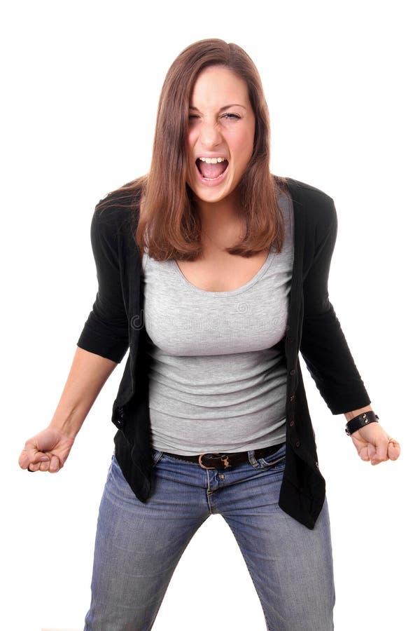 Giovane donna che grida fotografie stock libere da diritti