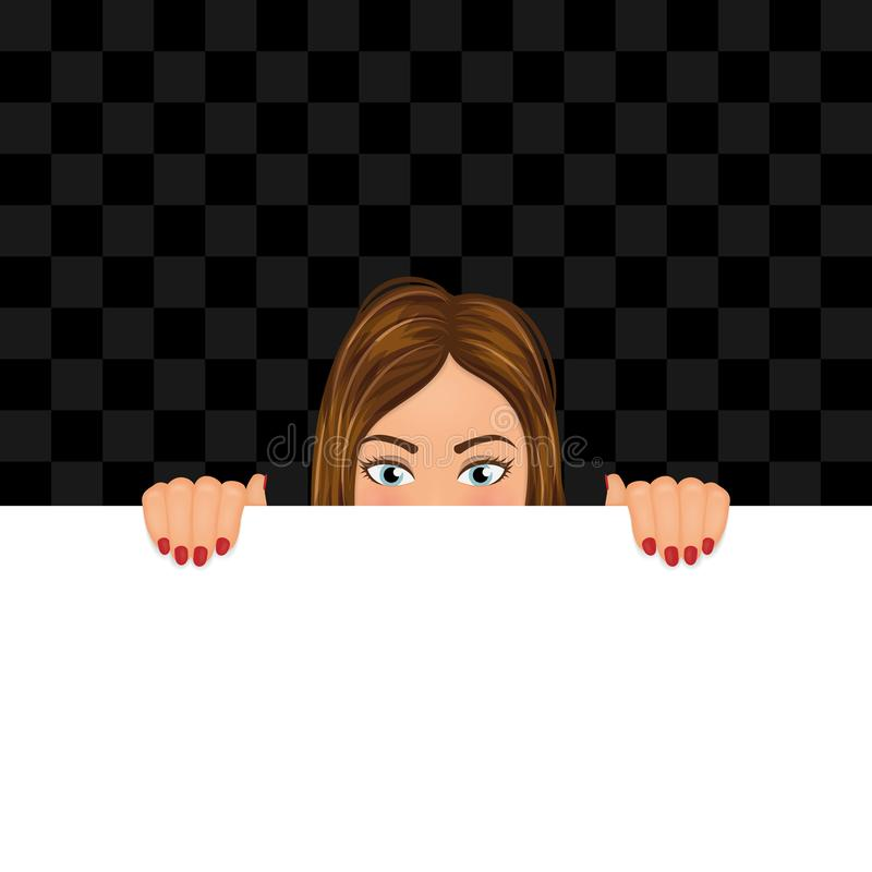 Giovane donna che guarda dallo spazio in bianco con lo spazio della copia Ragazza che si nasconde dietro l'insegna Illustrazione  illustrazione vettoriale