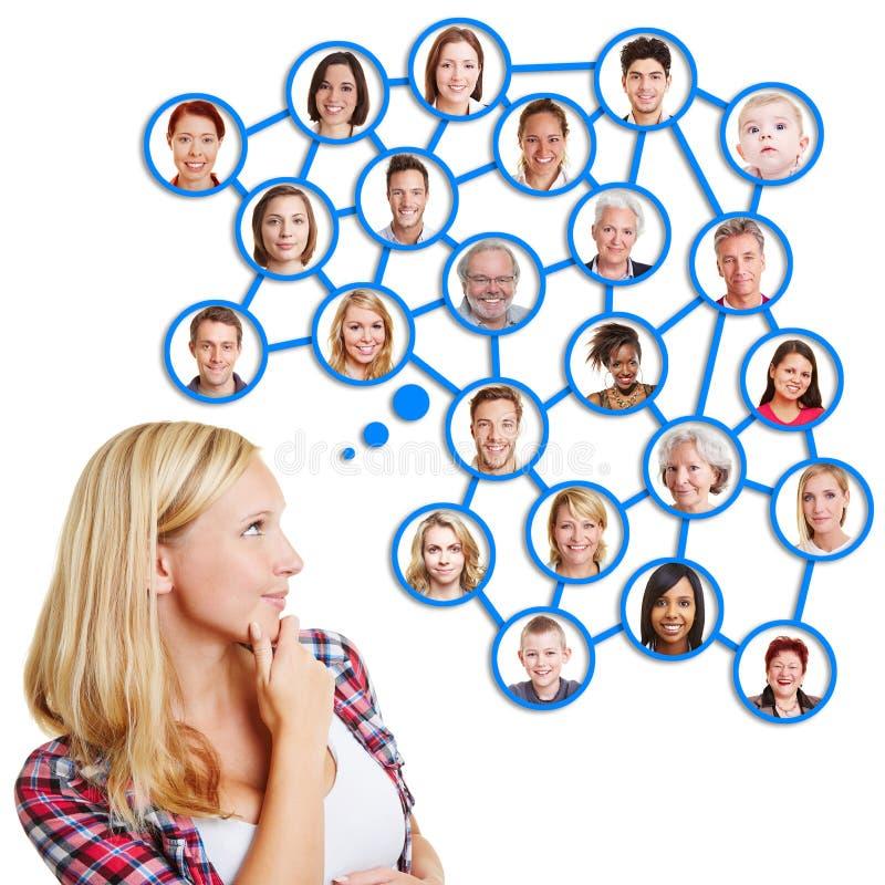 Giovane donna che pensa alla rete sociale immagini stock libere da diritti
