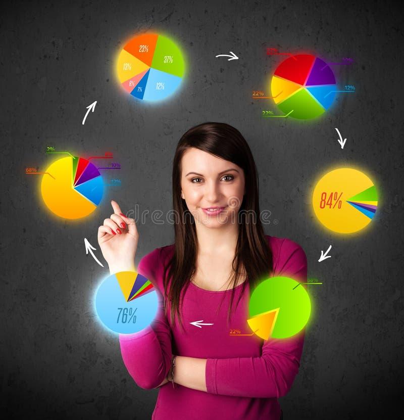 Giovane donna che pensa con la circolazione dei diagrammi a torta intorno alla sua testa immagine stock libera da diritti