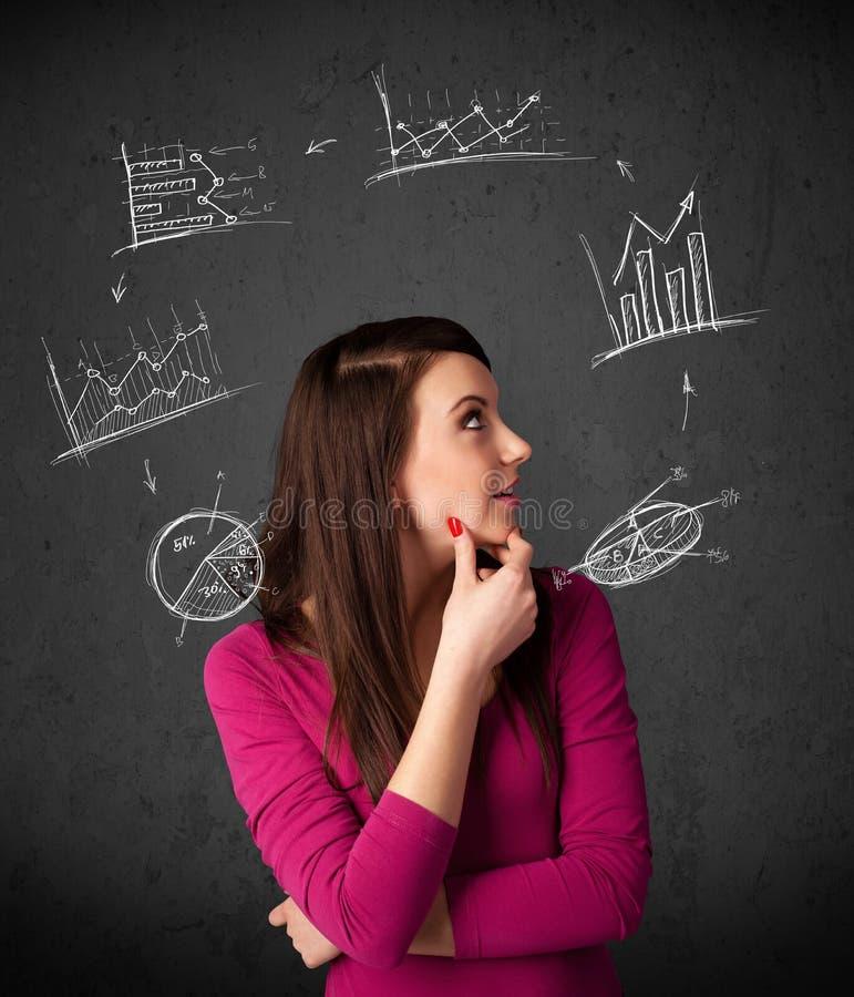 Giovane donna che pensa con la circolazione dei grafici intorno alla sua testa immagini stock libere da diritti