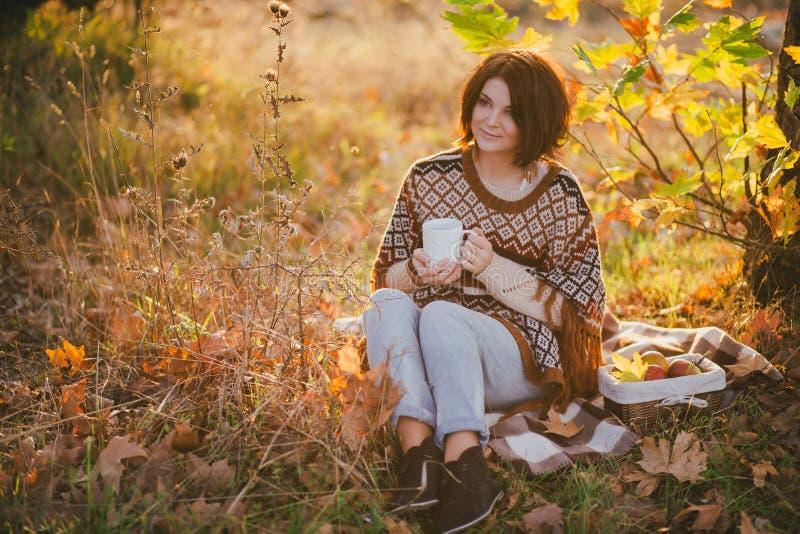 Giovane donna che porta poncio tricottato che ha picnic in una foresta: tè bevente e selezionare le mele immagine stock