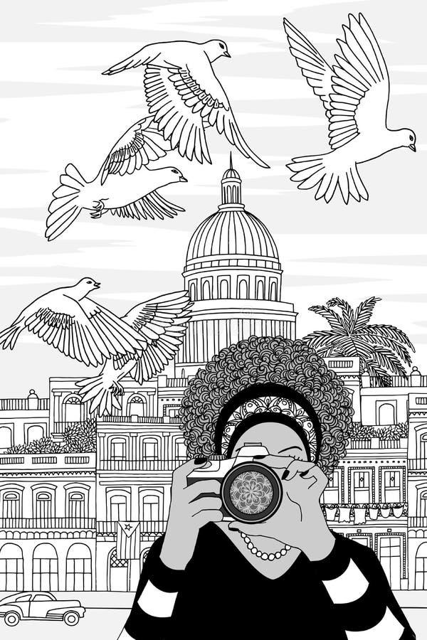 Giovane donna che prende le foto a Avana illustrazione vettoriale