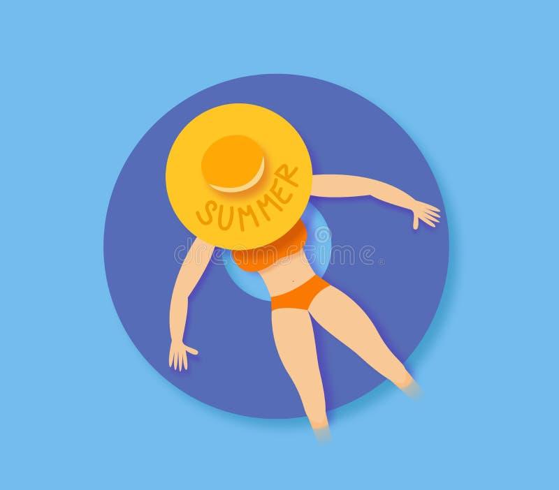 Giovane donna che si rilassa su un anello di nuotata nel mare o nella piscina, vacanza estiva illustrazione vettoriale