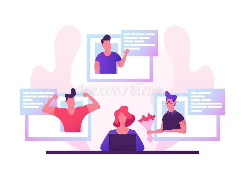 Giovane donna che si siede al computer portatile che cerca il partner di amore a datare sito Web, relazioni umane di realtà virtu illustrazione di stock