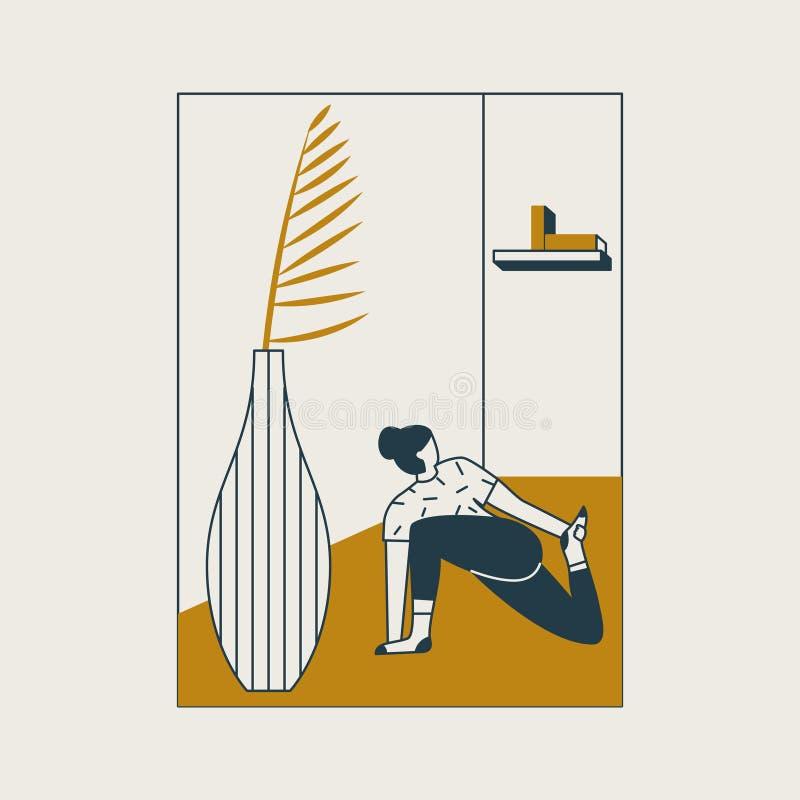 Giovane donna che si siede nella posizione e nel meditare di yoga Ragazza che fa esercizio e meditazione di aerobica a casa illustrazione di stock