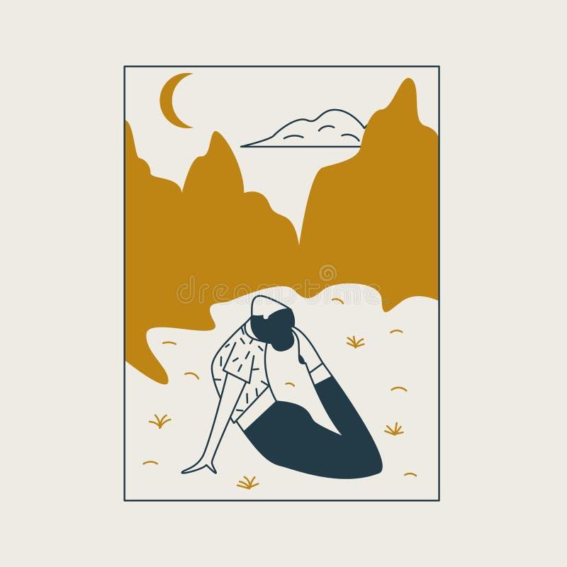 Giovane donna che si siede nella posizione e nel meditare di yoga Ragazza che fa esercizio e meditazione di aerobica nei mountaim illustrazione di stock