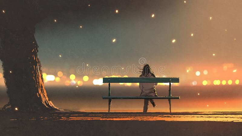 Giovane donna che si siede su un banco con il ligh del bokeh royalty illustrazione gratis