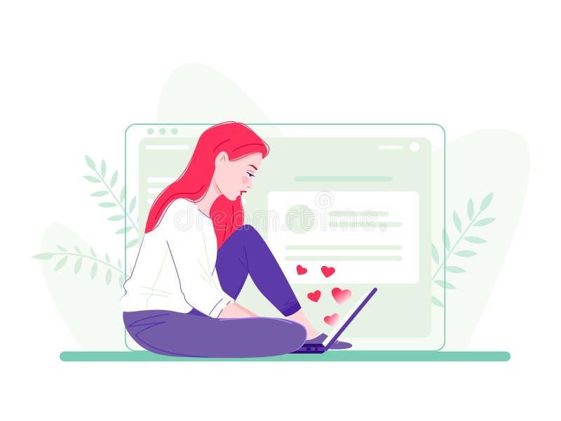 Giovane donna che si siede sul pavimento con il computer portatile vicino al grande schermo di computer I cuori volano dallo sche immagini stock libere da diritti