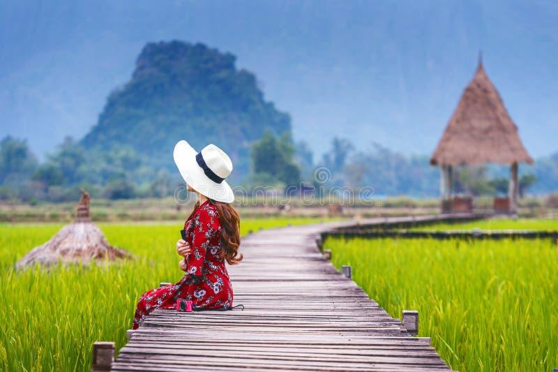 Giovane donna che si siede sul percorso di legno con il giacimento verde del riso in Vang Vieng, Laos immagine stock libera da diritti