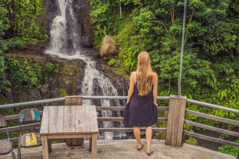 Giovane donna che sta davanti alla cascata Turista femminile che esamina cascata immagini stock libere da diritti