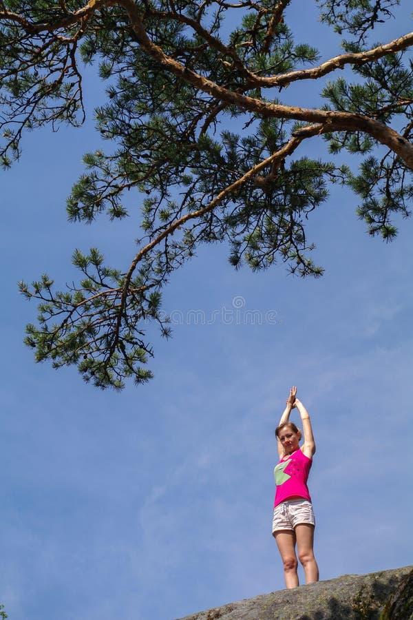 Giovane donna che sta sulla scogliera con le armi stese e che gode della vista della valle immagini stock libere da diritti
