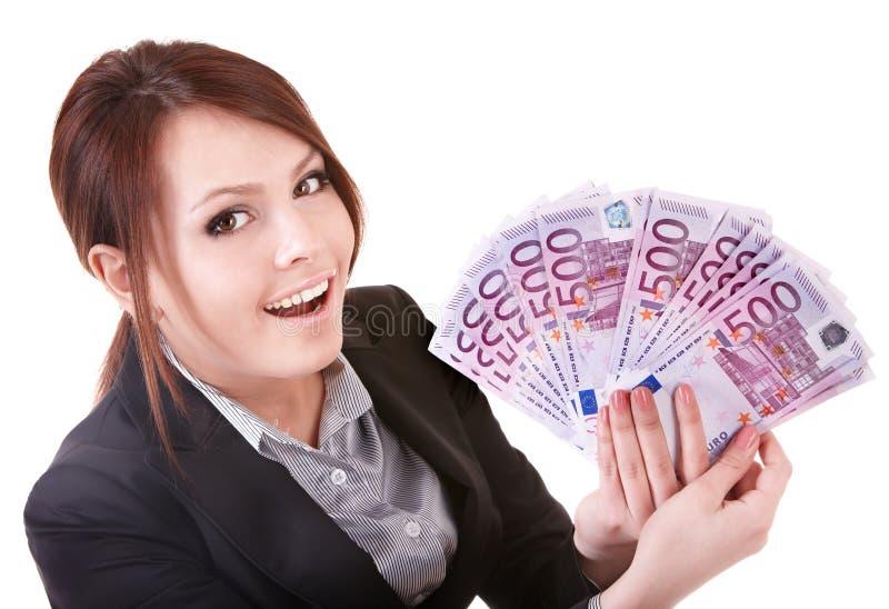 Giovane donna che tiene euro soldi. immagini stock