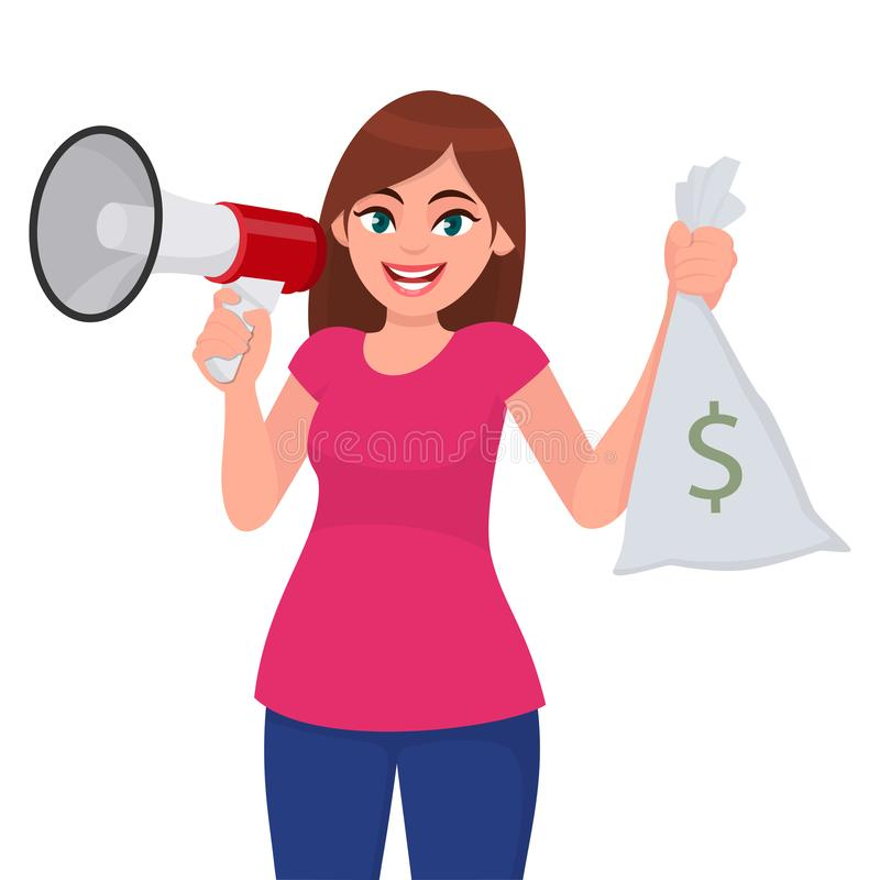Giovane donna che tiene un megafono o un altoparlante a disposizione La ragazza che mostra i contanti, soldi, valuta nota la bors illustrazione di stock