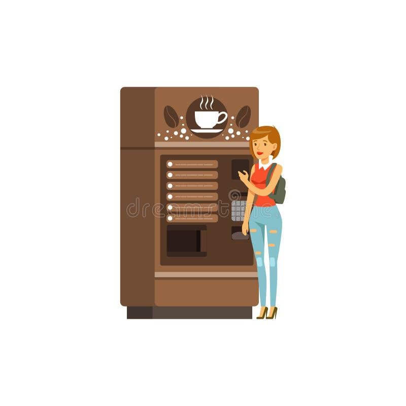 Giovane donna che usando il distributore automatico del caffè, dispositivo automatico per le bevande calde, illustrazione automat illustrazione vettoriale
