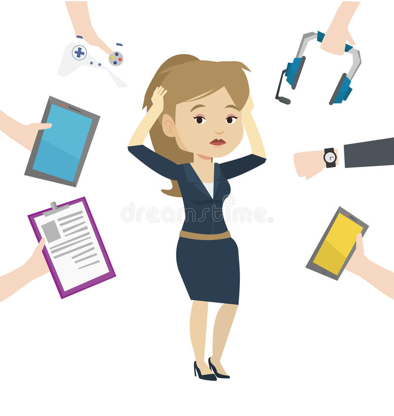 Giovane donna circondata con i suoi aggeggi illustrazione di stock