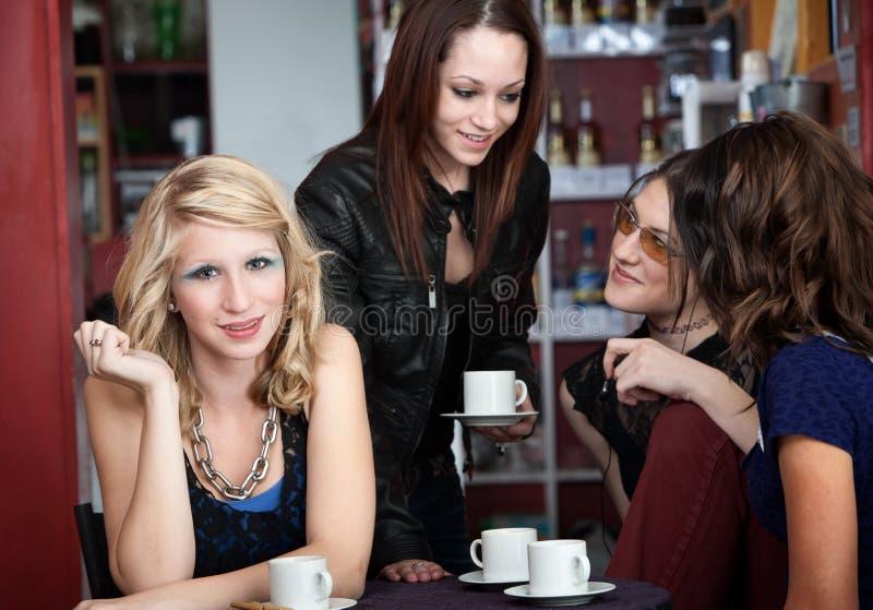 Giovane donna con gli amici immagine stock