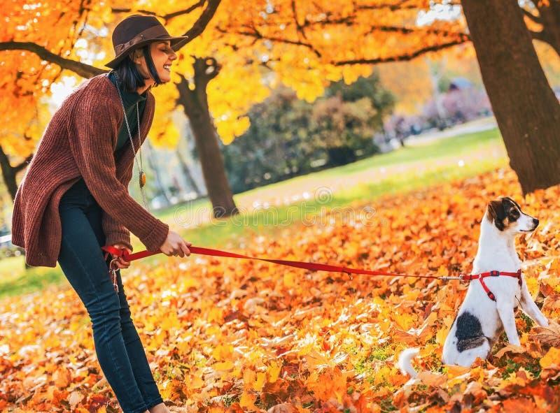 Giovane donna con il cane all'aperto in autunno fotografia stock libera da diritti