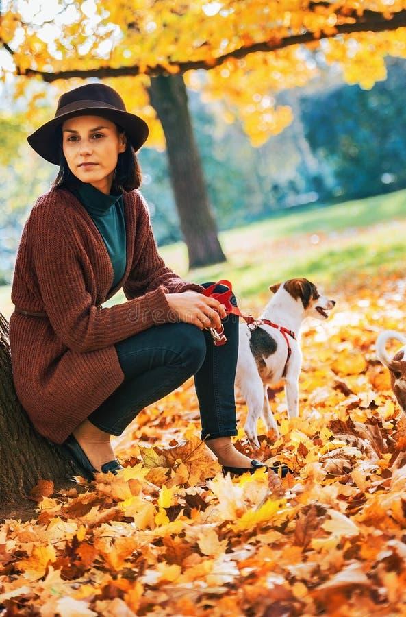 Giovane donna con il cane che sta all'aperto nel parco in autunno immagine stock libera da diritti