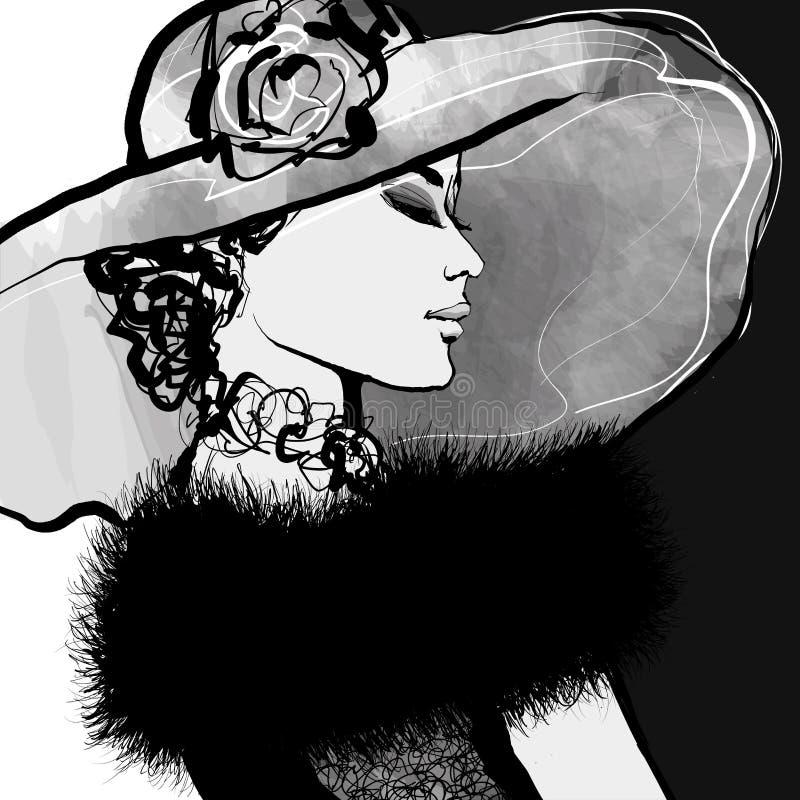 Giovane donna con il cappello e la pelliccia illustrazione vettoriale