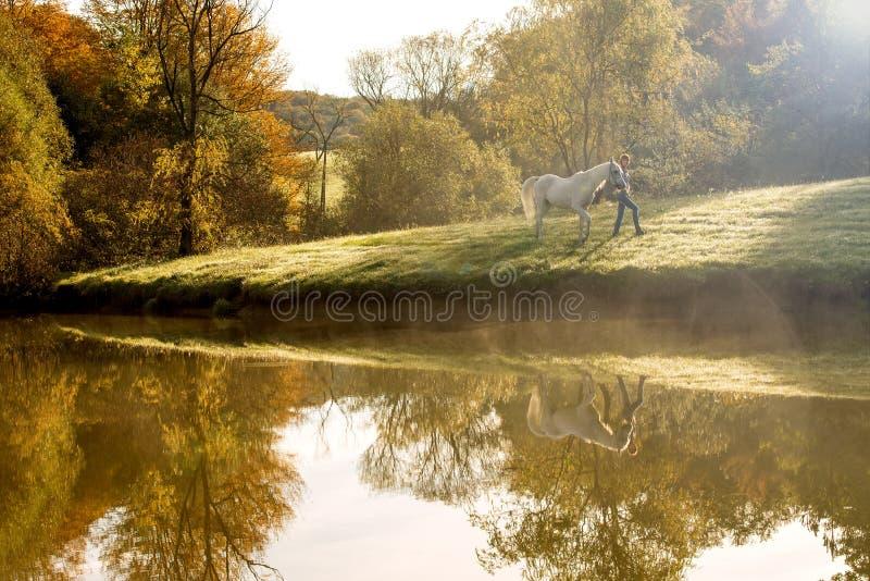 Giovane donna con il cavallo nel lago fotografia stock libera da diritti