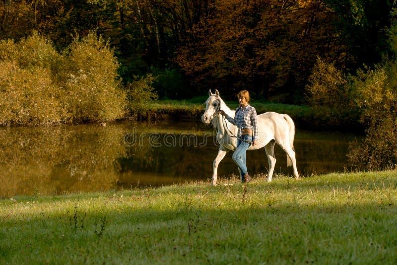 Giovane donna con il cavallo nel lago fotografie stock