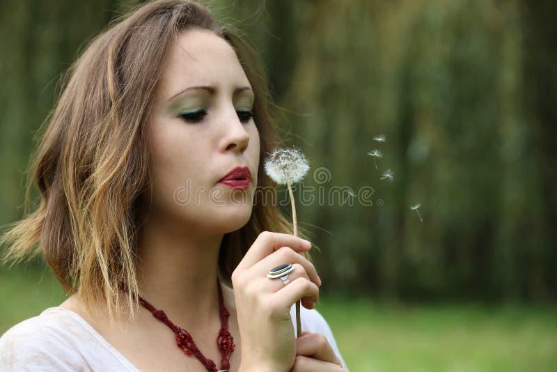 Giovane donna con il dente di leone immagine stock