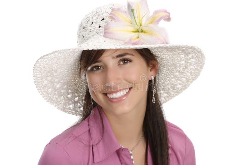 Giovane donna con il fiore fotografie stock libere da diritti