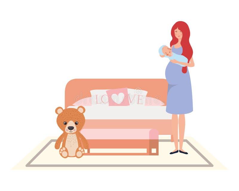 Giovane donna con il neonato a letto royalty illustrazione gratis