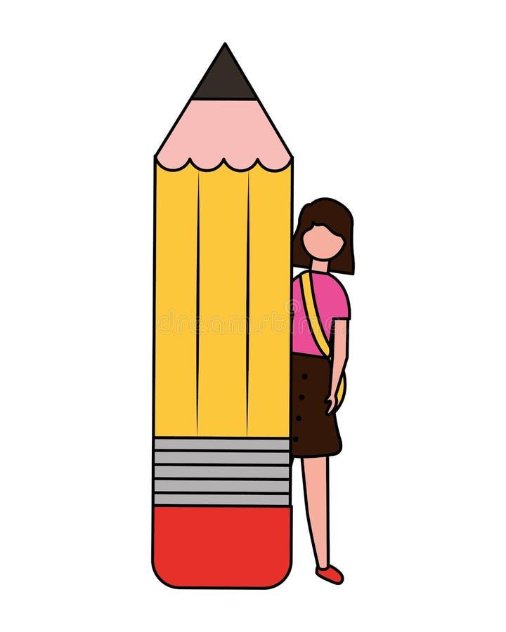 Giovane donna con il rifornimento della matita illustrazione vettoriale