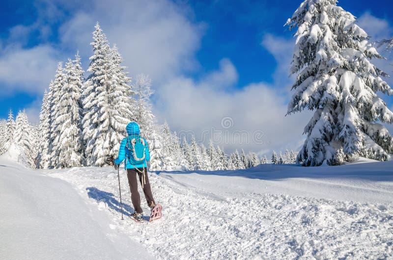 Giovane donna con il rivestimento di alba in montagne di inverno fotografie stock libere da diritti