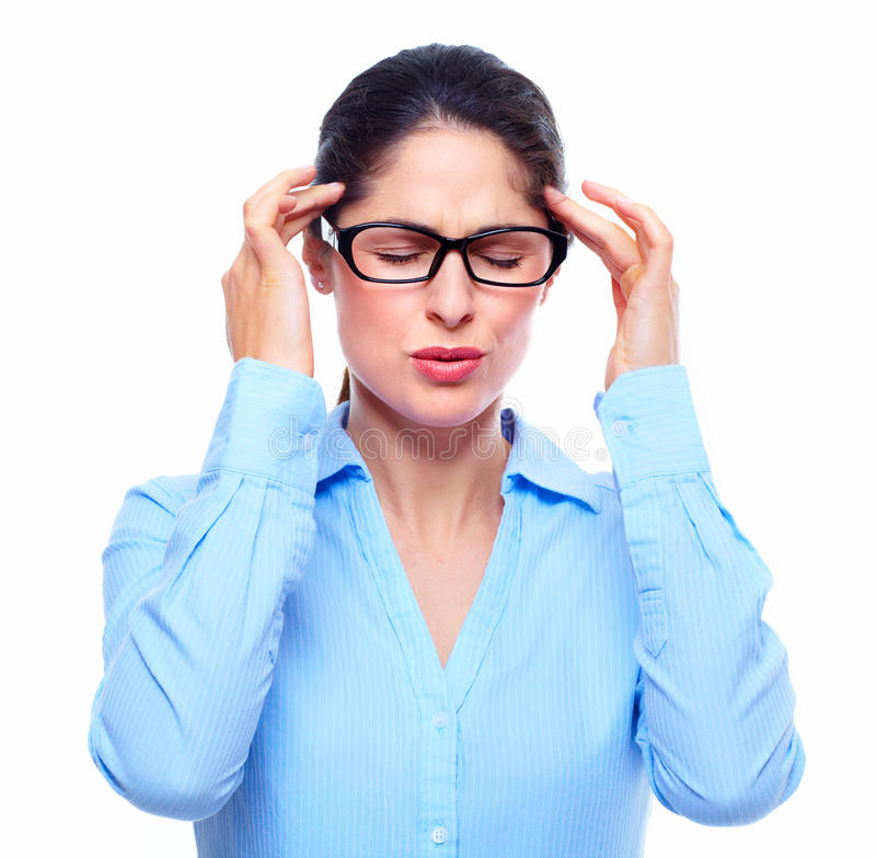 Giovane donna con l'emicrania. fotografia stock