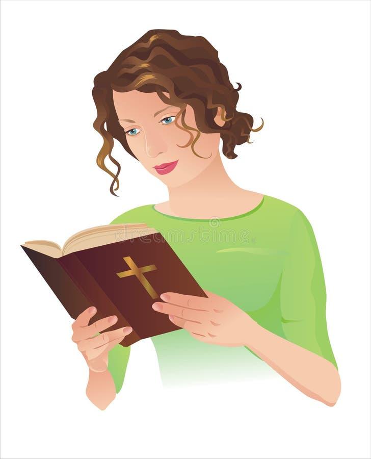Giovane donna con la bibbia royalty illustrazione gratis