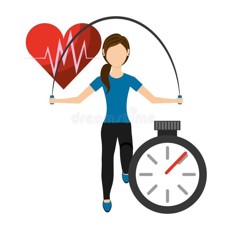 Giovane donna con la corda di salto Concetto di forma fisica Progettazione di salute del cuore Illustrazione piana di stile royalty illustrazione gratis