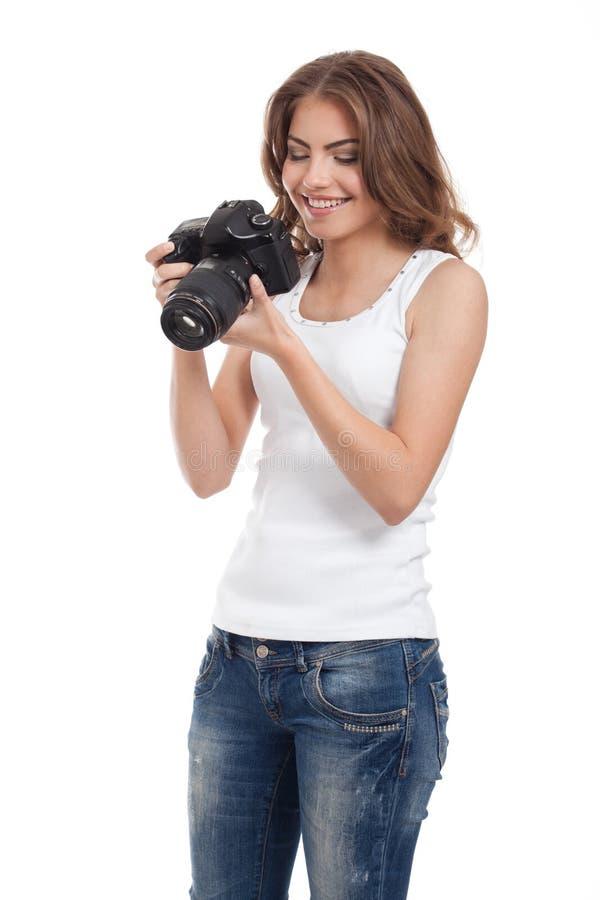 Giovane donna con la macchina fotografica della foto immagine stock libera da diritti