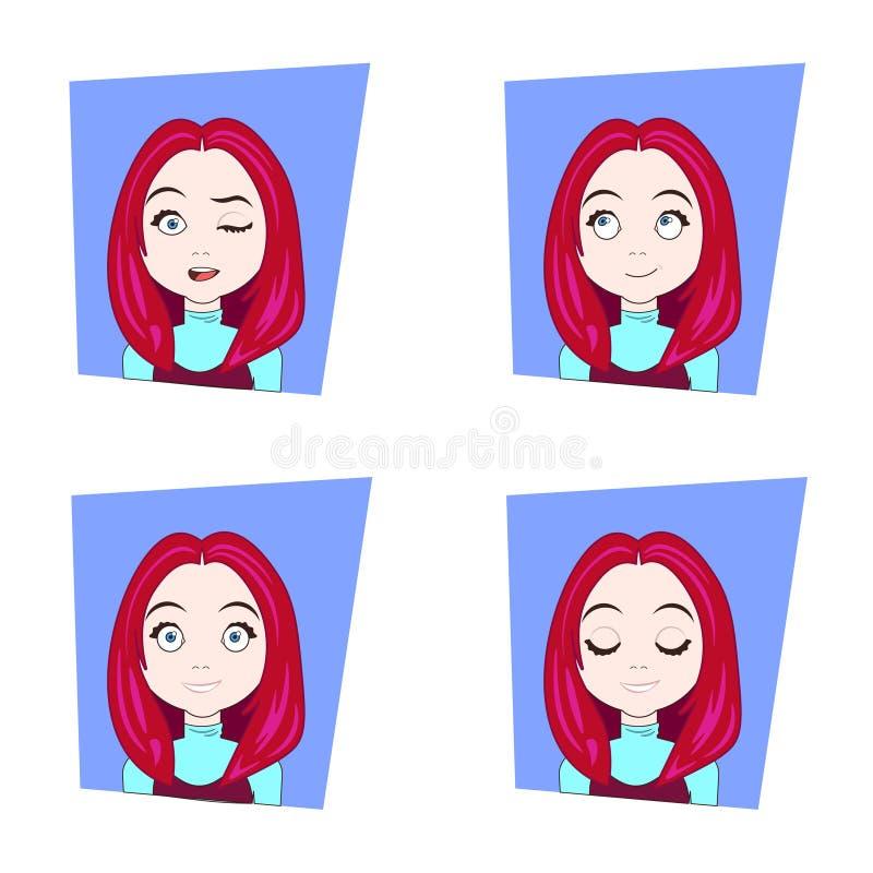 Giovane donna con le emozioni facciali differenti dei capelli rossi fissate delle espressioni del fronte della ragazza illustrazione di stock