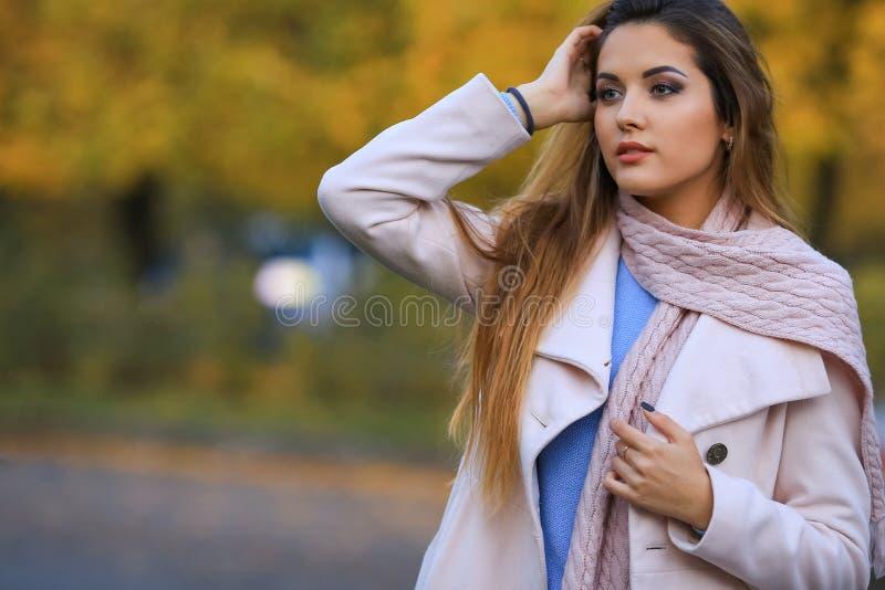 Giovane donna con le foglie di autunno a disposizione ed il fondo giallo del giardino dell'acero di caduta fotografie stock libere da diritti