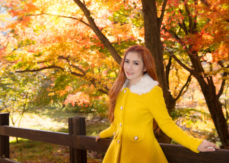 Giovane donna con le foglie di autunno nel giardino dell'acero fotografia stock libera da diritti